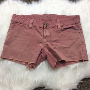 Guess Coral Colored Scallop Pocket Frayed Shorts